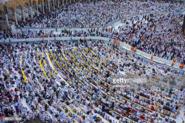"Muslim pilgrims circumambulate or ""tawaf"" the Kaabah after Asar prayer at Masjidil Haram, Makkah, Saudi Arabia."