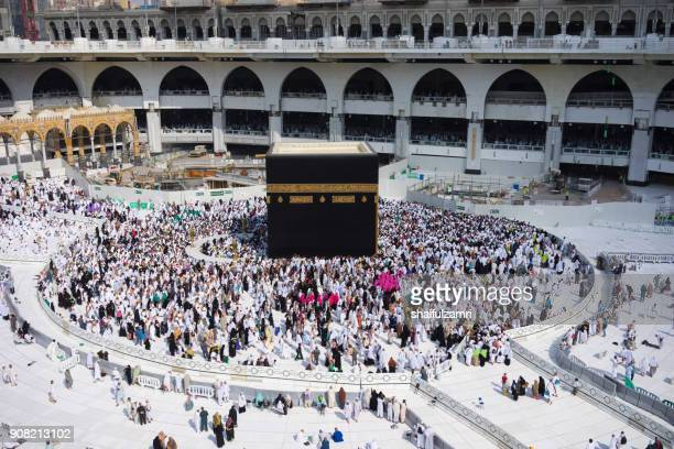 Muslim pilgrims circumambulate or 'tawaf' the Kaabah after Subuh prayer at Masjidil Haram, Makkah, Saudi Arabia.