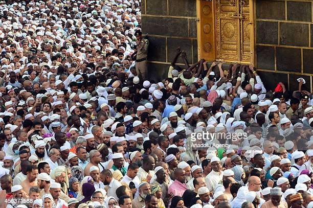 Muslim pilgrims from all around the world circle counterclockwise and touch the wall of Islam's holiest shrine the Kaaba ahead of upcoming Eid AlAdha...