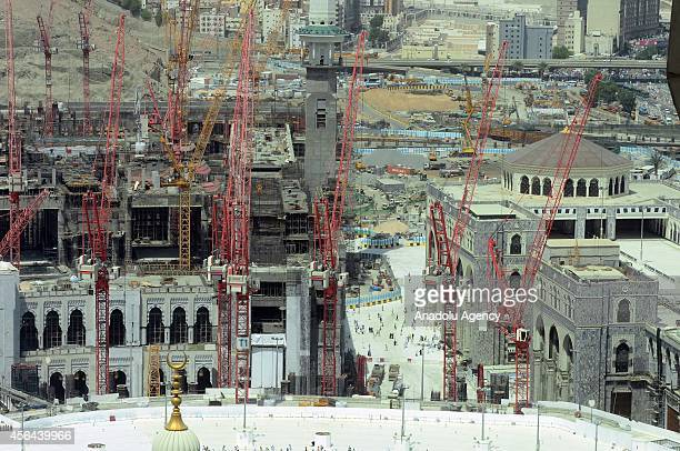 Muslim pilgrims from all around the world circumambulate the Kaaba the Muslim's holiest shrine during the constructions for extension project of the...