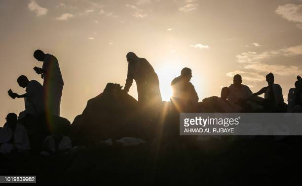 Muslim pilgrims gather on Mount Arafat also known as Jabal alRahma southeast of the Saudi holy city of Mecca on Arafat Day which is the climax of the...