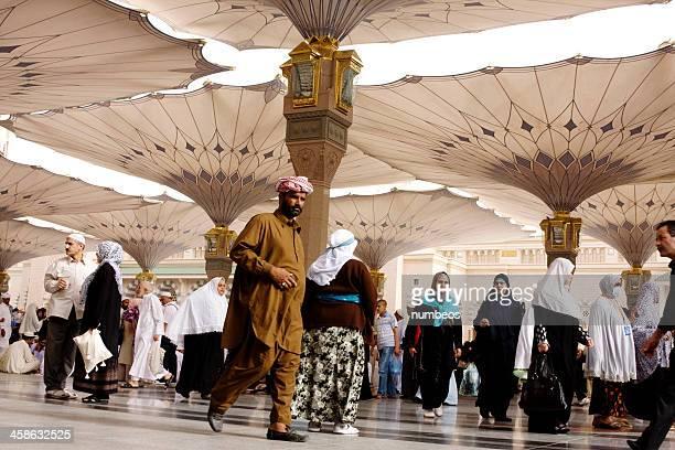 muslim pilgrims, medina, saudi arabia - al madinah stock photos and pictures