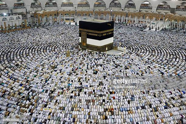 Muslim pilgrims perform prayer around the Kaaba Islam's holiest site located in the center of the Masjid alHaram in Mecca Saudi Arabia on September 7...
