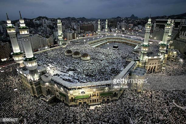 Muslim pilgrims pray around the holy Kaaba at Mecca's Grand Mosque during the annual hajj rituals January 17, 2005 in Mecca, Saudi Arabia. According...