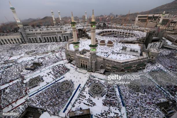Muslim pilgrims pray at the Grand Mosque in the holy Saudi city of Mecca on August 29 on the eve of the start of the annual Hajj pilgrimage / AFP...