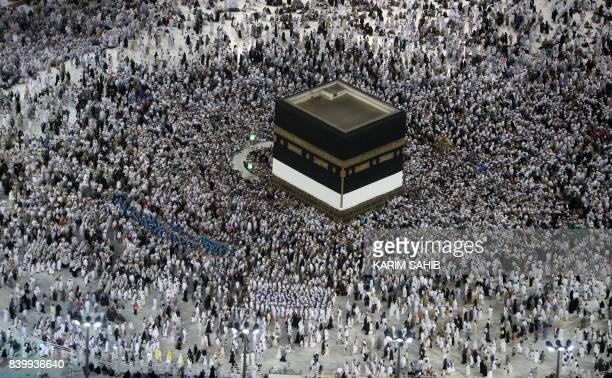 Muslim pilgrims prepare to circumambulate the Kaaba Islam's holiest shrine at the Grand Mosque in Saudi Arabia's holy city of Mecca on August 27...