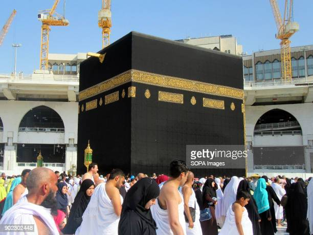 Muslim pilgrims seen circumambulating around the most holiest shrine in Muslim religion call Kaaba at the Grand Mosque in Mecca