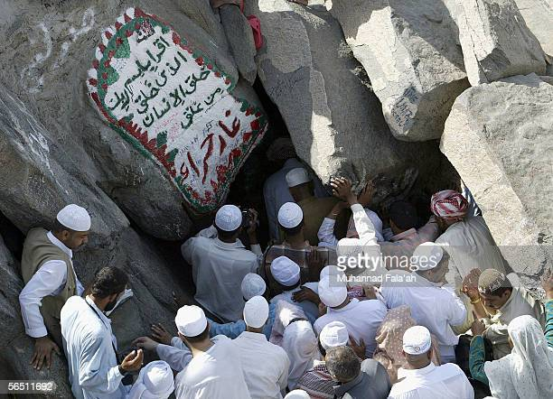 Muslim pilgrims try to enter Heera cave where according to the Muslims belief Prophet Muhammad received the revelation of the holy Muslim book the...