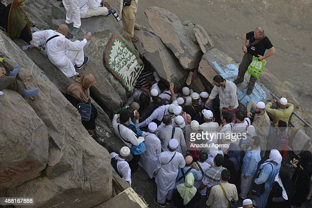 Muslim pilgrims visit Hira Cave at the top of the Jabal alNour ahead of the start of the annual Hajj pilgrimage in Mecca Saudi Arabia on September 14...