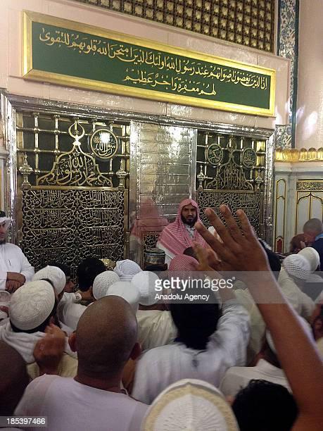Muslim pilgrims visit Hucrei Saadet at AlMasjid anNabawi on October 19 2013 in Madina Saudi Arabia The muslim pilgrims who started their holy Hajj...