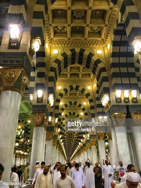 Muslim pilgrims visit Masjid alNabawi the mosque where hosts Holy Prophet Muhammad's tomb on the fourth day of Eid AlAdha after they completed the...