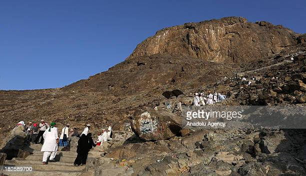 Muslim pilgrims visit the alNoor mountain where the Hira cave is located on October 01 2013 in Mecca Saudi Arabia The Hajj is an Islamic pilgrimage...