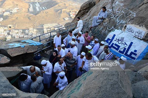 Muslim pilgrims visit the Hira cave where Prophet Muhammad received the first revelation of the Quran at the top of al Nour mountain on September 28...