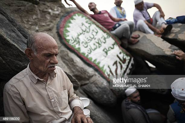 Muslim pilgrims visit the Hiraa cave on Noor mountain on September 19 2015 as more than a million Muslims from around the world converge the holy...
