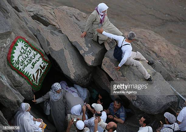 Muslim pilgrims visit the Hiraa cave where Prophet Muhammad received the first revelation of the Quran at the top of al Nour mountain on October 01...