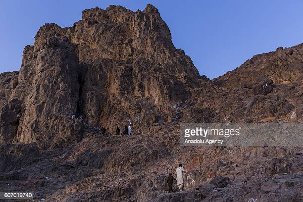 Muslim pilgrims visit the holy Mount Uhud site of the second battle between Muslim and Meccan forces and Archers Hill at Uhud after their duty of...