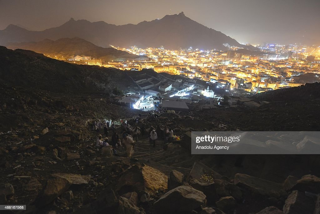Muslim pilgrims visit the Jabal al-Nour (al-Noor mountain) and Hira Cave ahead of the start of the annual Hajj pilgrimage in Mecca, Saudi Arabia on September 14, 2015. Hira Cave where Prophet Muhammad is believed to have received the first revelations of the Quran, is a small cave about 3.5 meters long and a little over 1.5 meters wide located at the top of Jabal al-Nour near Mecca, in the Hejaz region of Saudi Arabia.