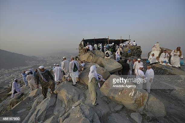 Muslim pilgrims visit the Jabal alNour and Hira Cave ahead of the start of the annual Hajj pilgrimage in Mecca Saudi Arabia on September 14 2015 Hira...