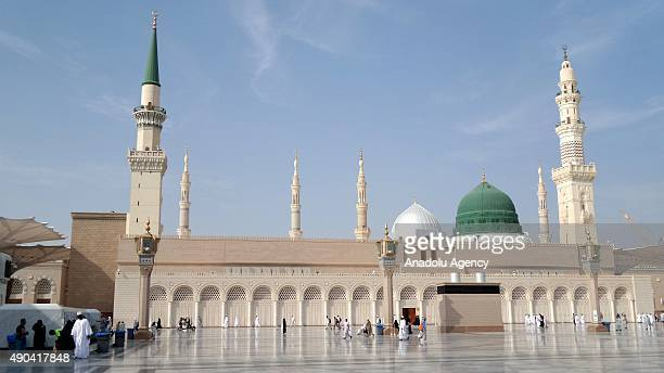 Muslim pilgrims visit the Masjid alNabawi where the tomb of Prophet Mohammad is located in Medina Saudi Arabia on September 28 after they...