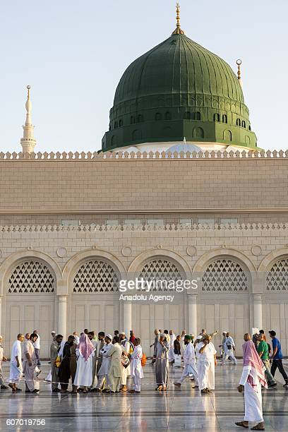 Muslim pilgrims visit the Masjid alNabawi where the tomb of Prophet Mohammad is located after their duty of pilgrimage in Medina Saudi Arabia on...
