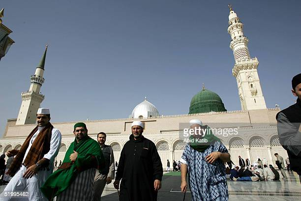Muslim pilgrims visit the Prophet Mohammed Mosque January 13 2005 in the holy city of Medina Saudi Arabia The annual Hajj season sees muslims from...