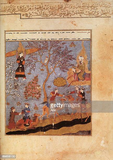 Muslim prophet Muhammad on the Bouraq is going in the heaven in presence of the angel Gabriel illumination from manuscript Miradjname by Mir Haydar...