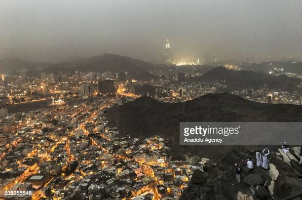 Muslim prospective pilgrims climb the Jabal alNour to visit Hira Cave during the annual Hajj pilgrimage in Mecca Saudi Arabia on August 24 2017 Hira...