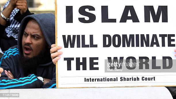 Muslim protestors demonstrate in Whitehall at US President Barack Obama's visit to Downing Street on May 24 2011 in London England The 44th President...