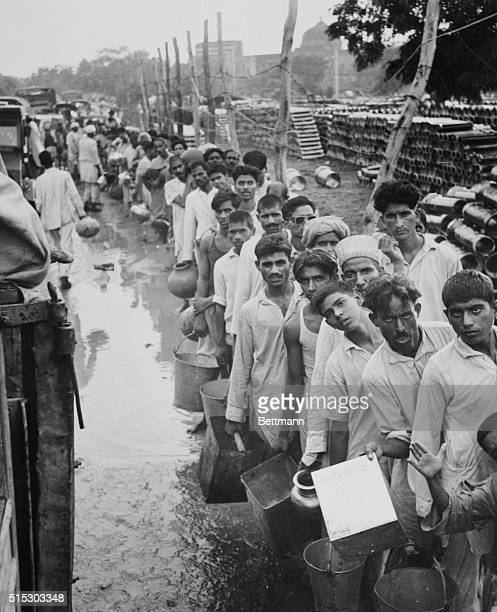 Muslim refugees are shown here some of the 100000 victims of Religious rioting who have taken refuge in the congested Purana Qila Fort on the...