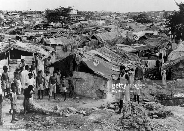 Muslim refugees having fled India after the partitioning of the country in 1947 at a shantytown in Karachi Pakistan around 19471948