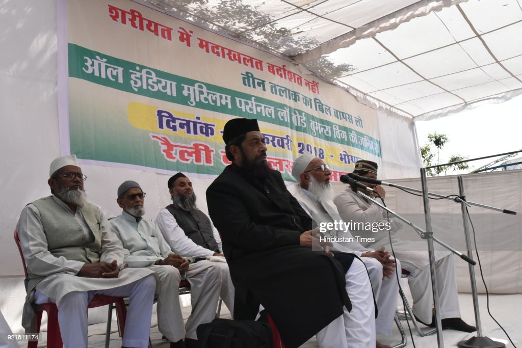 Muslim religious leaders addressing during a protest rally against Triple Talaq bill organised by women wing of All India Muslim Personal Law Board on February 20, 2018 in Bhopal, India.