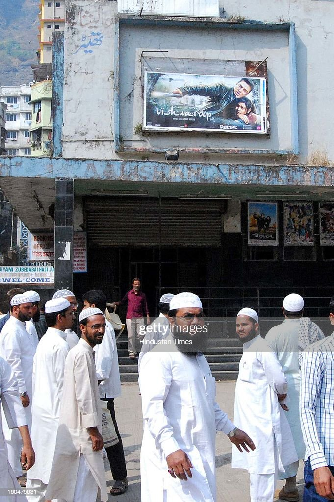Muslim residents of Mumbra oppose the screening of Kamal Hassan's film Vishwaroopam at a local Alishan theater on February 1, 2013 in Mumbai, India. 'Vishwaroopam' released all over India amid security except Tamil Nadu where it was banned after some Muslim groups taken objection to certain scenes in the movie as hurting their religious sentiments.