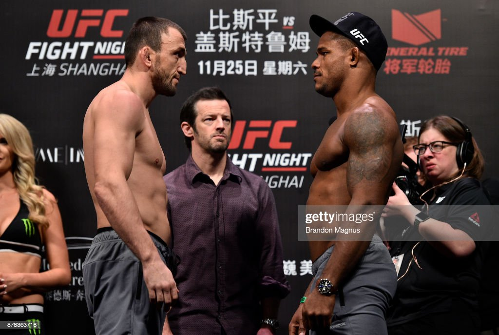 Muslim Salikhov of Russia and Alex Garcia of Dominican Republic face off during the UFC Fight Night weigh-in on November 24, 2017 in Shanghai, China.