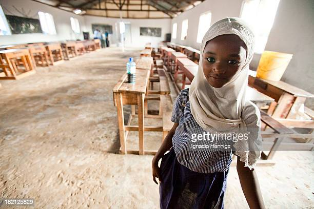 Muslim school girl wearing a hijab and her school uniform at her school in Likoni, Mombasa, Kenya.