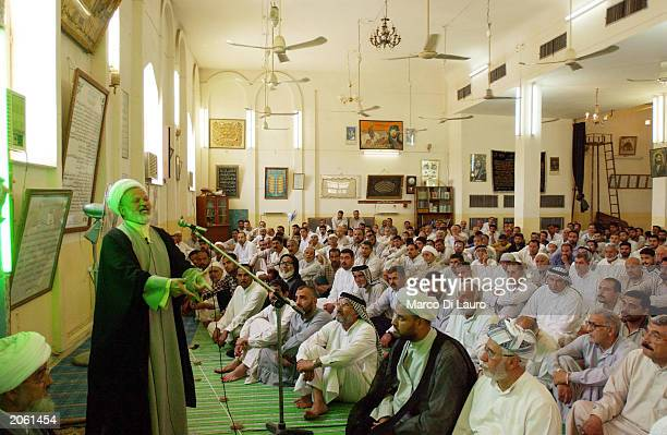 Muslim Shia Imam delivers his speech during Friday prayer in a mosque June 6 2003 in Saddam City Baghdad