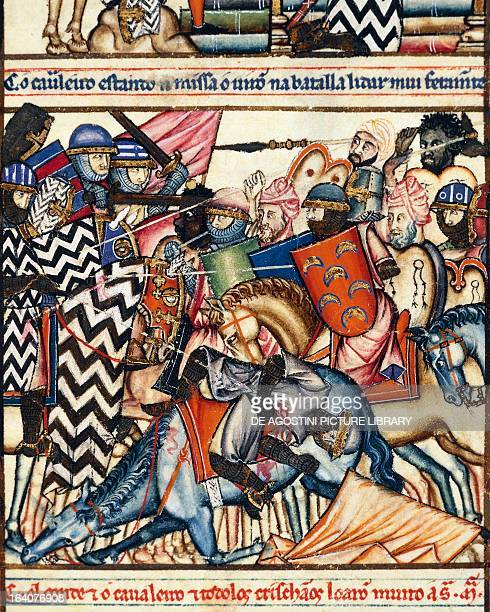 Muslim soldiers led by alMansur attacking San Esteban in 989 ballad 63 from the Ballads of Saint Mary by Alfonso X the Wise Spain 13th century El...