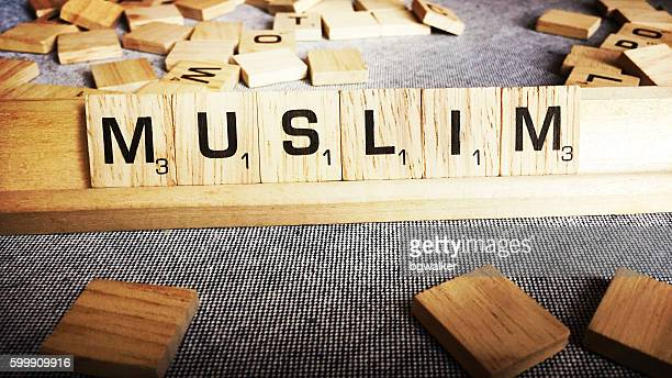 Muslim Spelled with Scrabble Tiles Letters