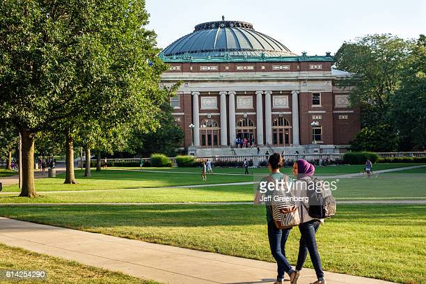 Muslim students wearing hijab scarf on campus of the University of Illinois.