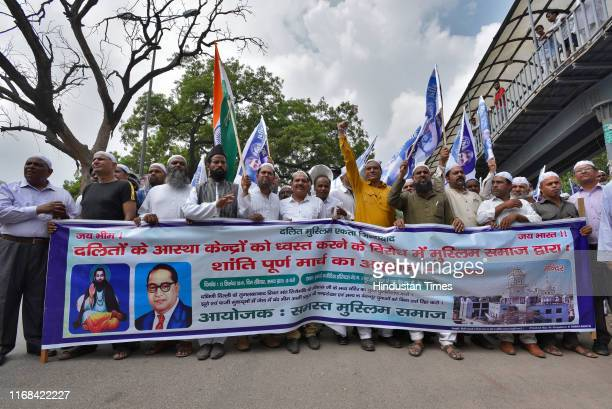 Muslim supporters of Bhim Army during a protest in solidarity with the scheduled caste community on the issue of demolition of Sant Ravidas Mandir...