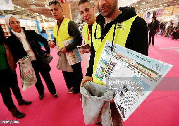 Muslim volunteers collect funds for the construction of a mosque in the commercial space of the 31st annual meeting of the Muslims of France...