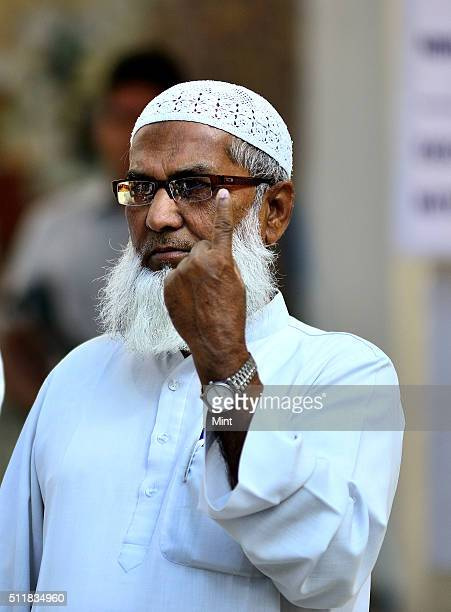 Muslim voter showing the mark after casting the vote for general election of the 16th Lok Sabha 2014 on April 10 2014 in New Delhi India