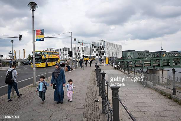 Muslim woman and children in Berlin, Germany