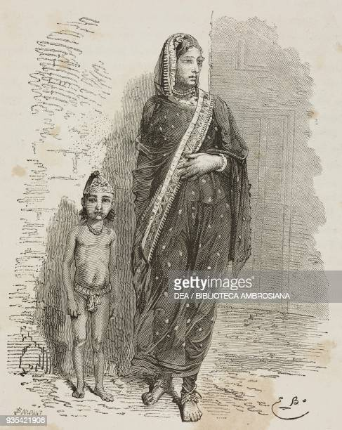 Muslim woman Bophal engraving from India travel in Central India and Bengal by Louis Rousselet
