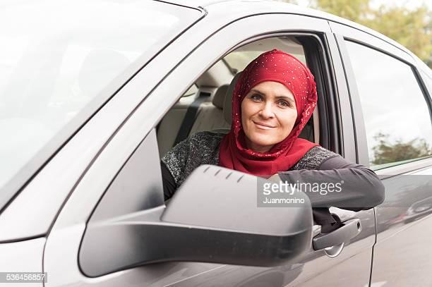 Muslim woman driving