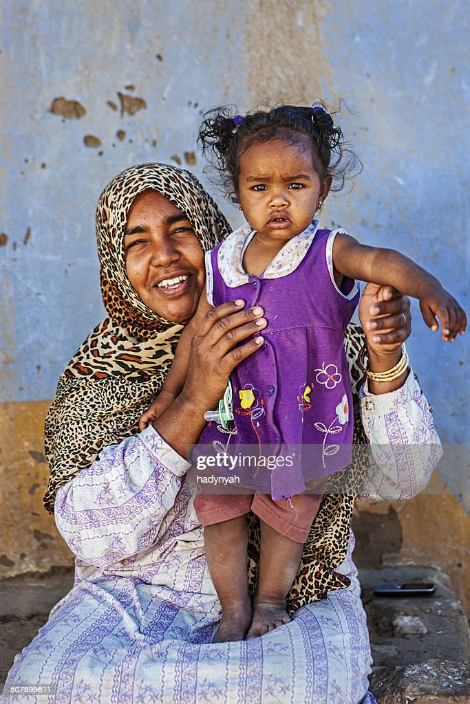 Muslim Woman Holding Her Baby Southern Egypt Africa High