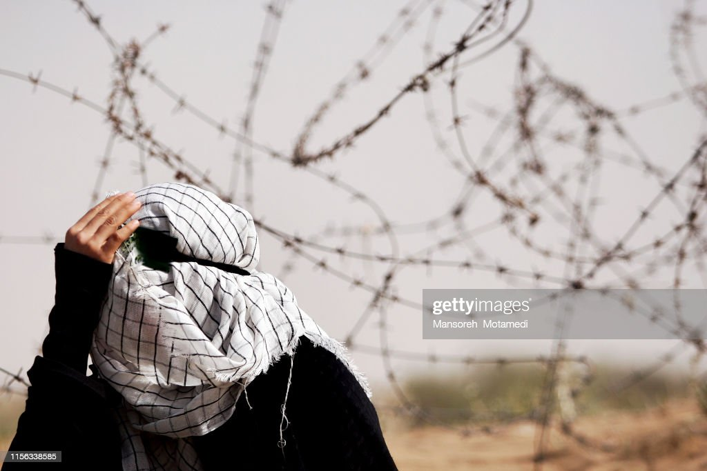 muslim woman is crying : Stock Photo