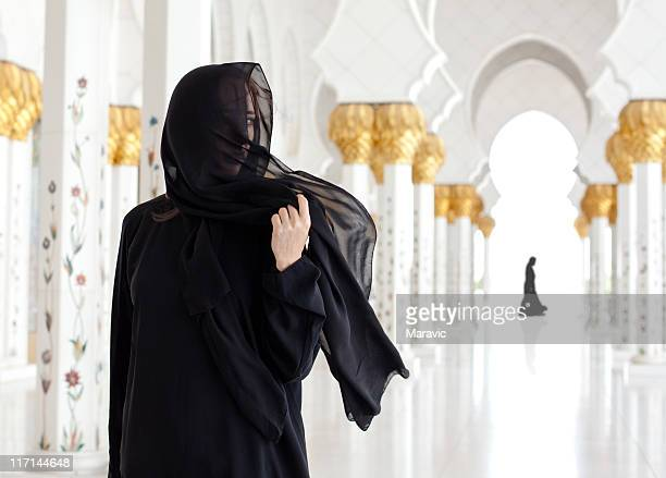 muslim woman - sheikh zayed mosque stock pictures, royalty-free photos & images