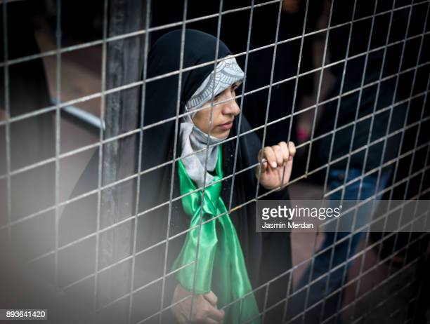 muslim woman portrait on street - woman prison stock-fotos und bilder