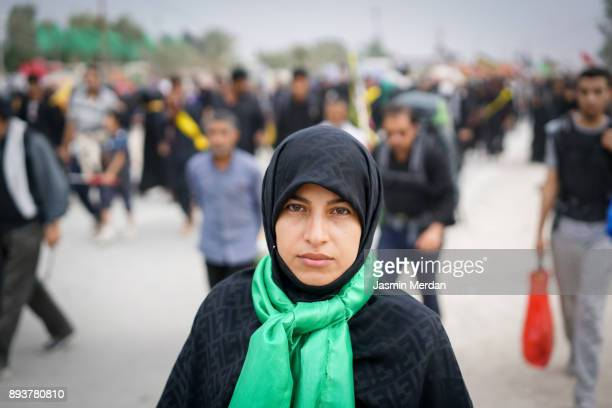 muslim woman portrait on street - iranian woman stock photos and pictures