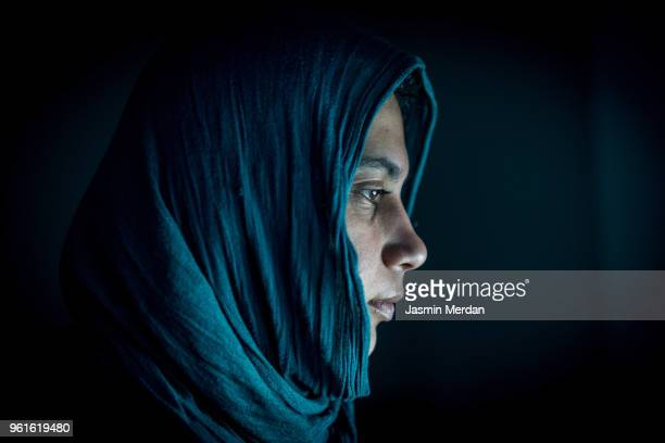Muslim woman profile in night